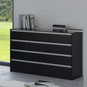 Sario Glass Top Chest Of Drawers In Black With 10 Drawers