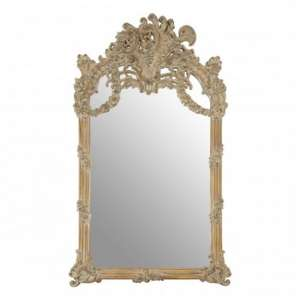 Sarnia Baroque Design Wall Bedroom Mirror In Muted Ivory Frame