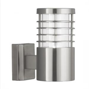 Satin Silver Outdoor Light With Polycarbonate Diffuser