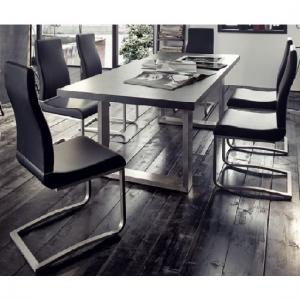 Savona Extra Large Dining Table In Grey And Stainless Steel Legs_2