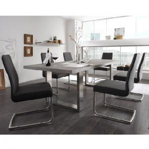 Savona Extra Large Dining Table In Grey And Stainless Steel Legs_3