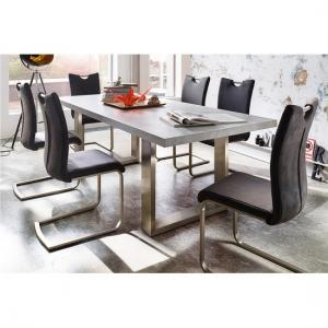 Savona Extra Large Dining Table In Grey And Stainless Steel Legs_4
