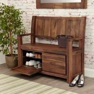 Sayan Wooden Shoe Storage Bench In Walnut With 2 Doors