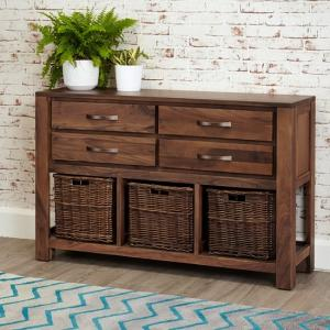 Sayan Wooden Console Table In Walnut With 4 Drawers
