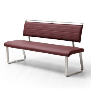 Scala Dining Bench In Bordeaux PU And Brushed Stainless Steel