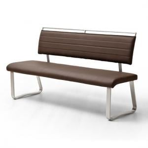 Scala Dining Bench In Brown PU And Brushed Stainless Steel