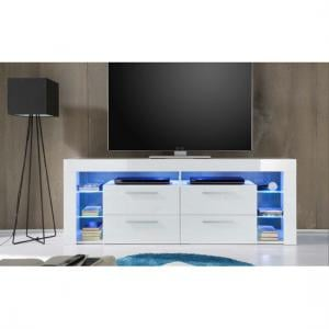 Sorrento High LCD TV Stand In White Gloss With Blue LED Light