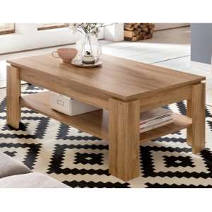 Scribe Wooden Coffee Table Rectangular In Rustic Oak