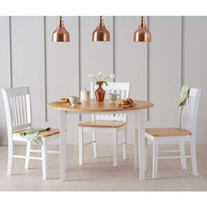 Sculptor Round Dining Set In Oak And White with 4 Chairs
