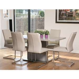 Seattle Marble Effect Dining Set With 6 Taupe Dining Chairs