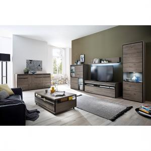 Seattle Living Room Furniture Set 1 In Oak Stone Grey With LED 2