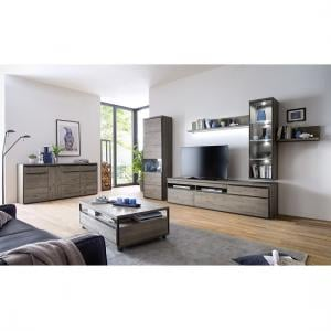 ... Seattle Living Room Furniture Set 3 In Oak Stone Grey With LED_4