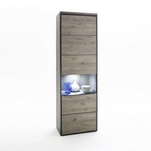 Seattle Wooden Right Display Cabinet In Oak Stone Grey And LED