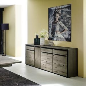Seattle Sideboard In Oak And Stone Grey With Metal Accents