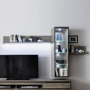 Seattle Wall Mounted Display Unit In Oak Stone Grey And LED