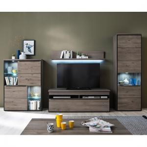 Seattle Living Room Furniture Set 1 In Oak Stone Grey With LED