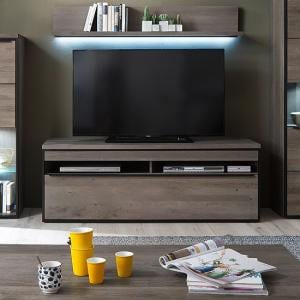 Seattle TV Stand In Oak And Stone Grey With Metal Accents
