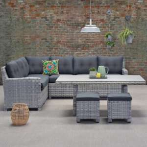 Sega Left Corner Lounge Sofa With Dining Set In Cloudy Grey