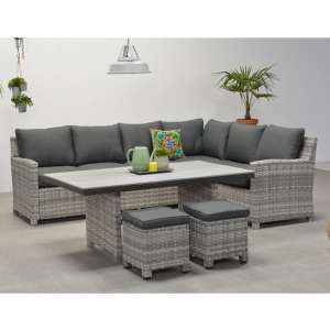 Sega Right Corner Lounge Sofa With Dining Set In Cloudy Grey