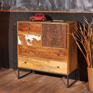 Segall Wooden Dresser In Mango With 1 Door And 4 Drawers