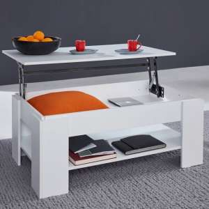 Seguin Wooden Coffee Table In White With Lift Up Top