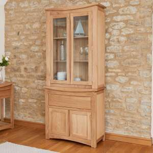 Seldon Display Cabinet In Oak With 4 Doors With Light