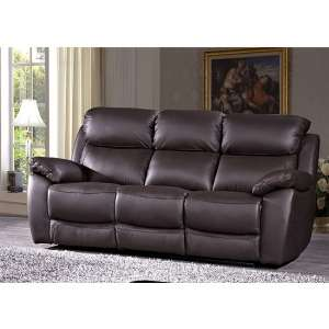Selene Contemporary 3 Seater Sofa In Brown Faux Leather