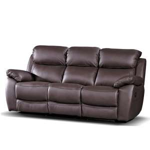 Selene Recliner 3 Seater Sofa In Brown Faux Leather