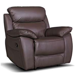 Selene Contemporary Recliner Armchair In Brown Faux Leather