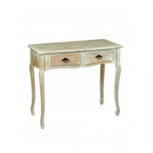 Senegal Wooden Console Table In Oak With 2 Drawers