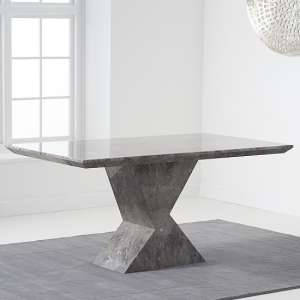 Senna Marble Dining Table Rectangular In Grey And High Gloss