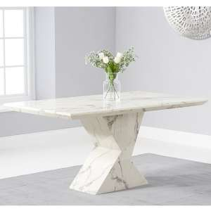 Senna Marble Dining Table Rectangular In White And High Gloss