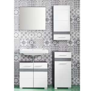Seon Bathroom Funiture Set 1 In Gloss White And Smoky Silver