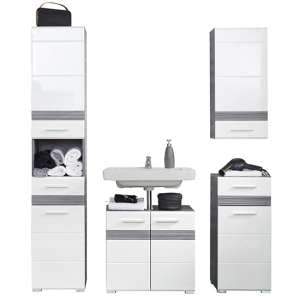 Seon Bathroom Funiture Set 14 In Gloss White And Smoky Silver