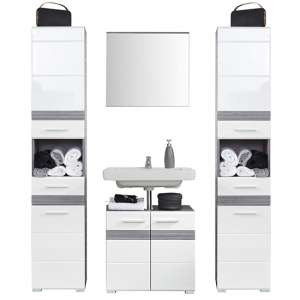 Seon Bathroom Funiture Set 17 In Gloss White Smoky Silver