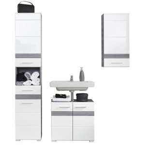 Seon Bathroom Funiture Set 18 In Gloss White And Smoky Silver