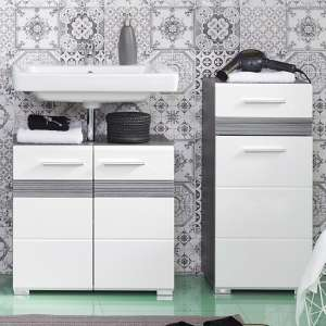 Seon Bathroom Funiture Set 19 In Gloss White And Smoky Silver