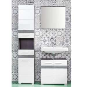 Seon Bathroom Funiture Set 2 In Gloss White And Smoky Silver
