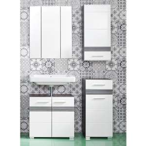 Seon Bathroom Funiture Set 21 In Gloss White Smoky Silver
