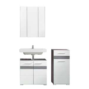 Seon Bathroom Funiture Set 23 In Gloss White Smoky Silver