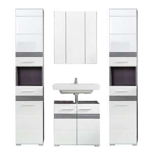 Seon Bathroom Funiture Set 25 In Gloss White Smoky Silver