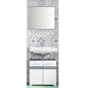 Seon Bathroom Funiture Set 7 In Gloss White And Smoky Silver
