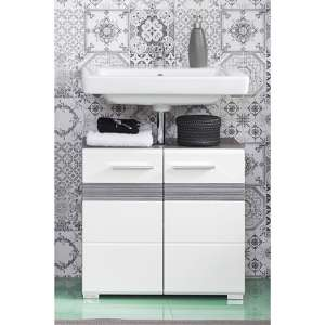 Seon Bathroom Sink Vanity Unit In Gloss White And Smoky Silver