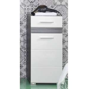 Seon Floor Bathroom Storage Cabinet In Gloss White Smoky Silver