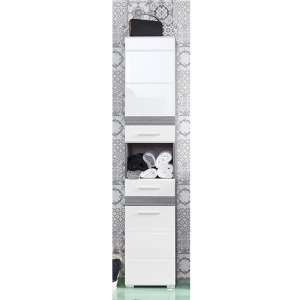 Seon Tall Bathroom Storage Cabinet In Gloss White Smoky Silver