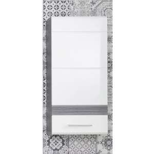 Seon Wall Bathroom Storage Cabinet In Gloss White Smoky Silver