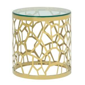 Seoul Glass Lamp Table In Clear With Gold Finish Frame