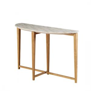 Serenity Console Table In Marble Top With Wooden Legs