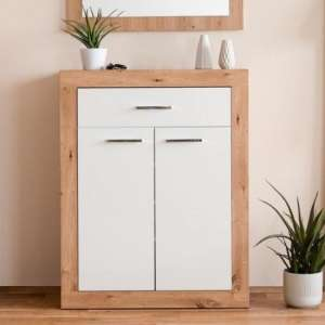 Serpens Shoe Storage Cabinet In Artisan Oak And White