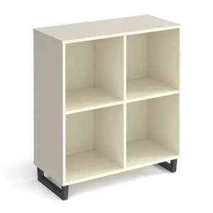 Sevan Low Wooden Shelving Unit In White With 2 Shelves